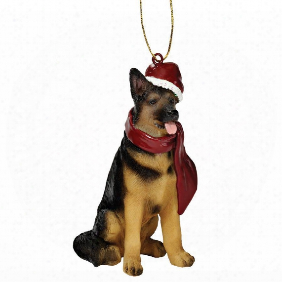 German Shepard Holiday Dog Ornament Sculpture