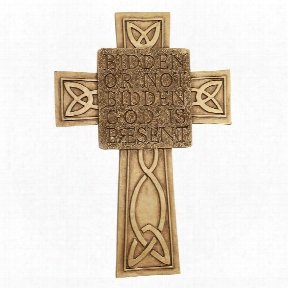 God Is Present Celtic Cross Wall Sculpture
