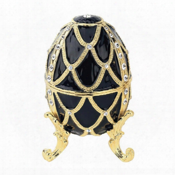 Golden Trellis Faberge Style Enameled Eggs: Ebene Egg