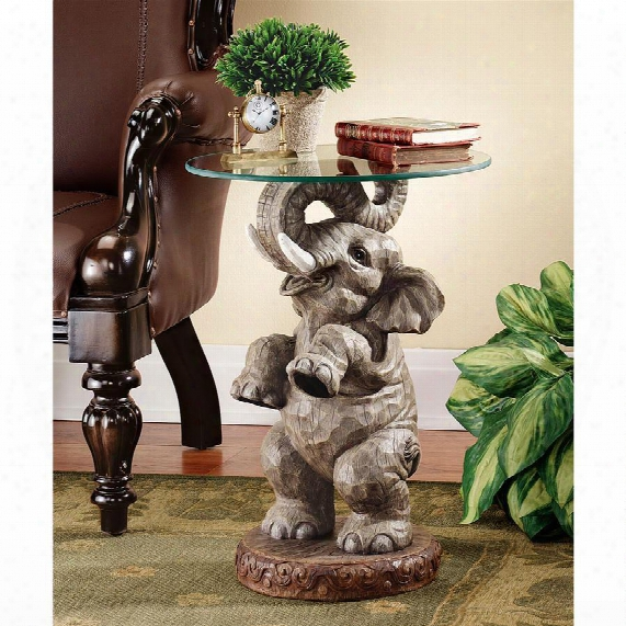Good Fortune Elephant Sculpture Glass-topped Table