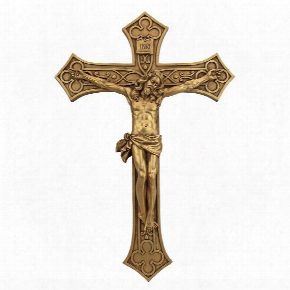 Gothic Christ On The Cross Crucifix Wall Sculpture: Grande