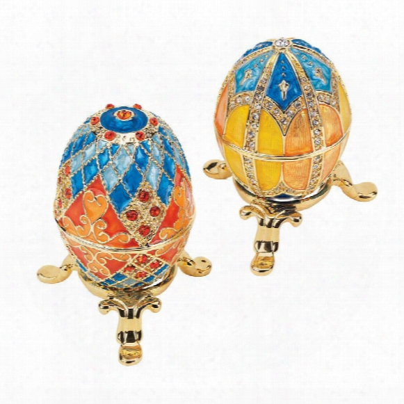 Grand Duchess Collection Faberge-style Enameled Eggs: Georgievna & Nikolaevna
