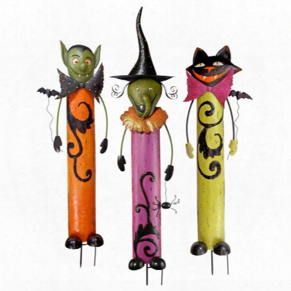 Halloween Ghoulish Gang Metal Garden Stakes Collection: Set Of 3