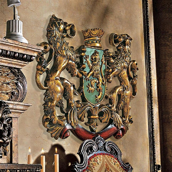Heraldic Royal Lions Coat Of Arms Wall Sculpture