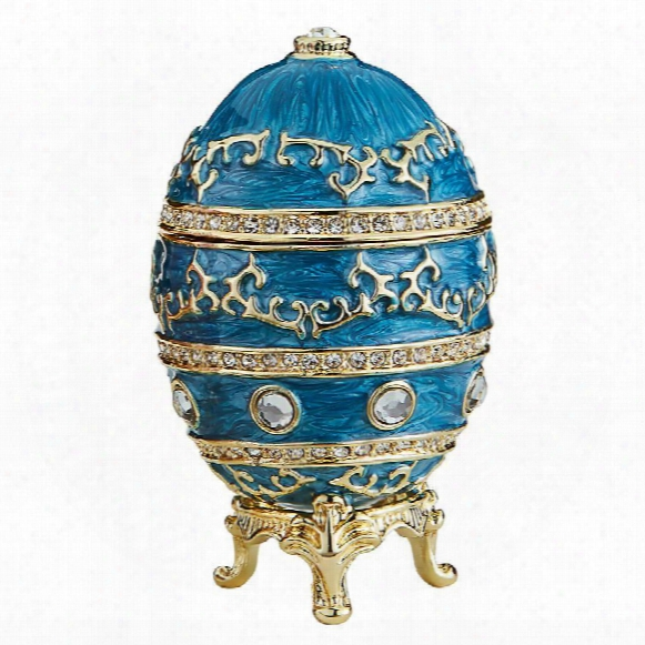 Imperial Baroque Faberge-style Enameled Egg Collection: Celestial Blue