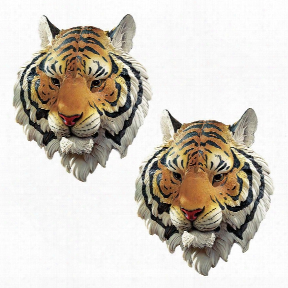 Indochinese Tiger Wall Sculpture: Set Of Two