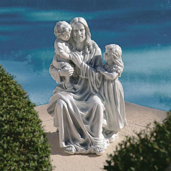 Jesus Loves The Little Children Garden Sculpture: The Smiling Christ Statue