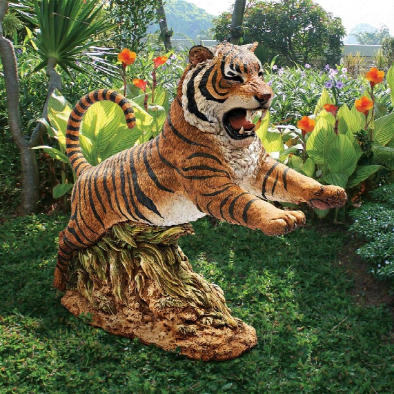 """Jungle Cat"""" Leaping Bengal Tiger Statue"""