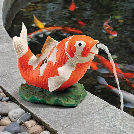 Kohaku Asian Koi Piped Spitter Statue