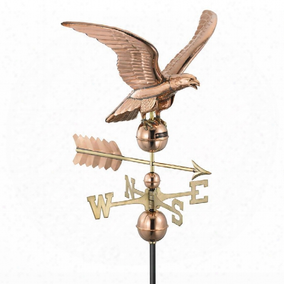 Majestic Eagle Full-size Copper Weathervane - Polished Copper Finish