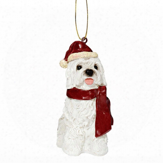 Maltese Holida Ydog Ornament Sculpture