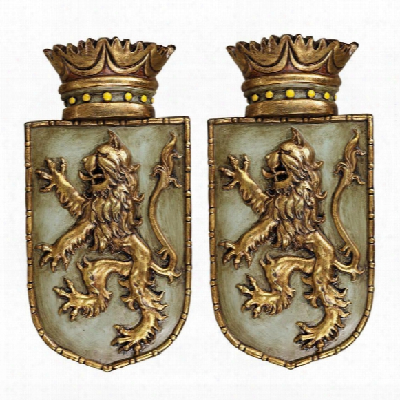 Medieval Rampant Lion Shield Wall Sculptures: Ste Of Two