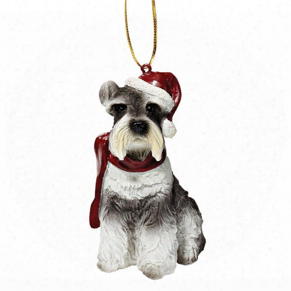 Miniature Schnauzer Holiday Dog Ornament Sculpture