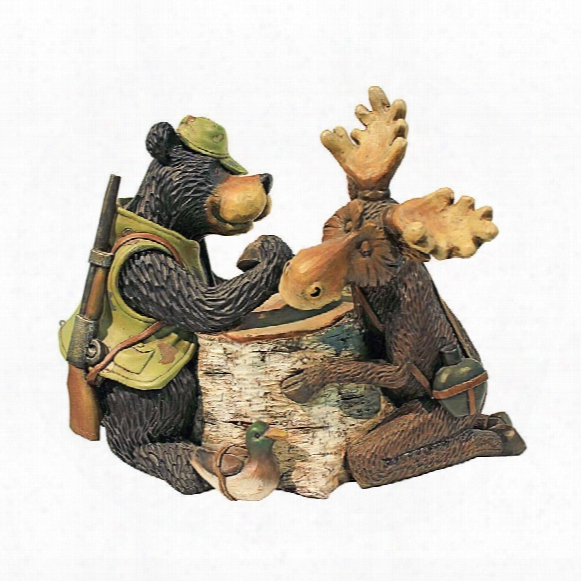 Moose And Black Bear Arm Wrestling Statue