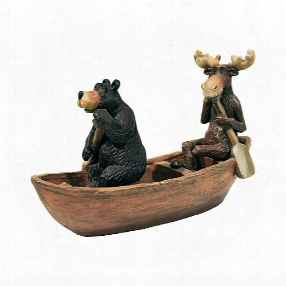 Moose And Black Bearin A Boat Statue
