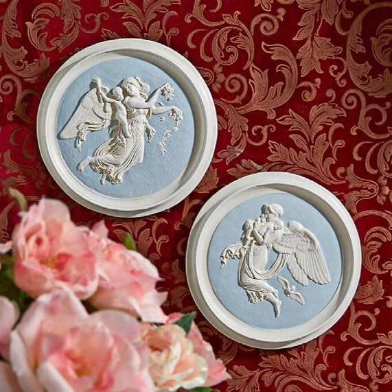 Morning And Night Angel Roundel Wall Plaques (1815) By Artist Bertel Thorvaldsen (1768-1844): Set Of Two