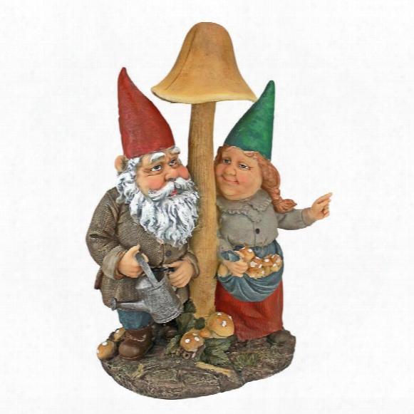 Mushroom Hunters Garden Gnome Statue