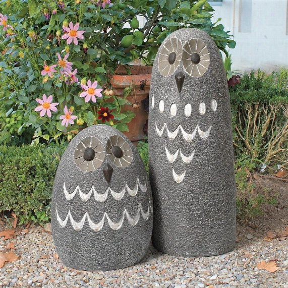 "Ogling Outdoor Owls"" Garden Statues: Set Of Two"