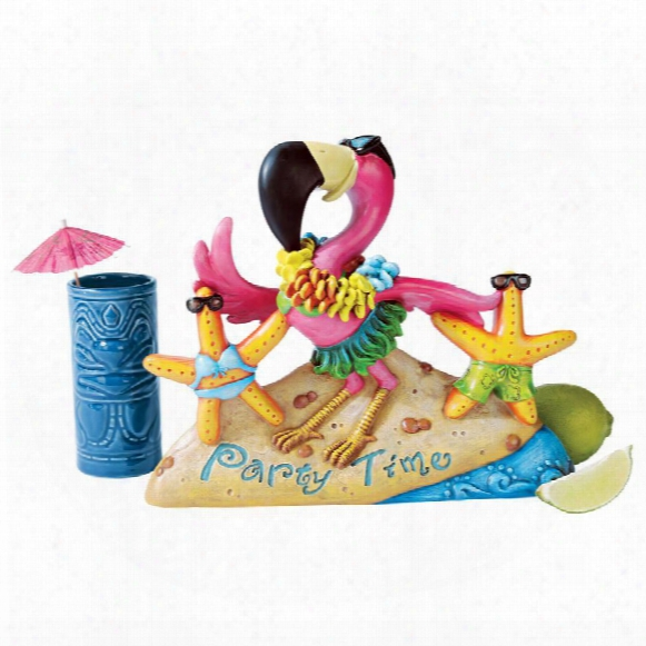 """Party Time Pink Flamingo"""" Statue"""
