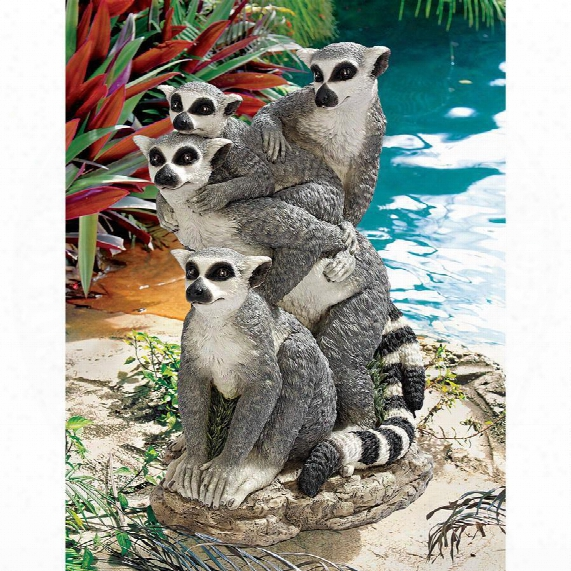 Ring-tailed Lemur Family Statue