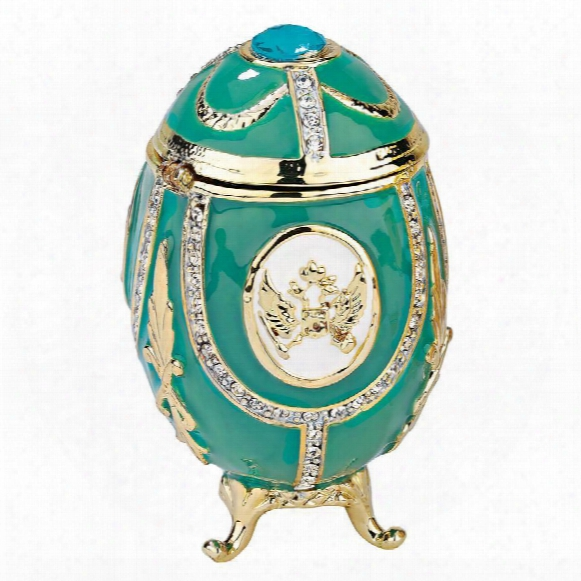 """Russian Imperial Eagle"""" Faberge-style Enameled Eggs Collection: Teal Green"""