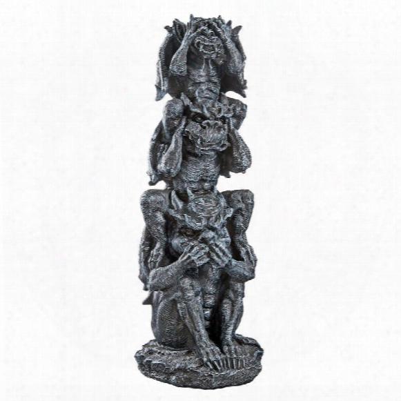 See, Hear, Speak No Evil Gargoyle Totem Statue