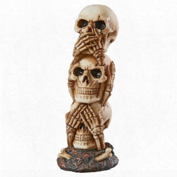See-no, Hear-no, Speak-no Skeleton Totem Statue: Medium