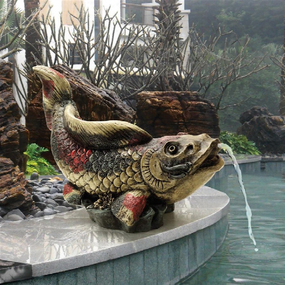 Showa Asian Koi Spitter Piped Statue
