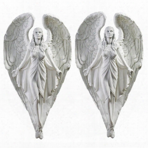 Spiritual Path Angel Wall Sculpture: Set Of 2