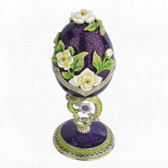 Spring Bouquet Collection Faberge-style Enameled Egg: Purple Salvia