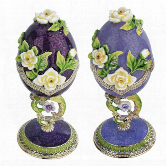 Spring Bouquet Collection: Faberge-style Enameled Eggs: Set Of Lavender & Purple Salvia