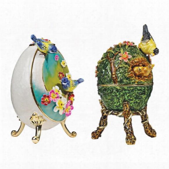 Springtime Faberge-style Enameled Eggs Set