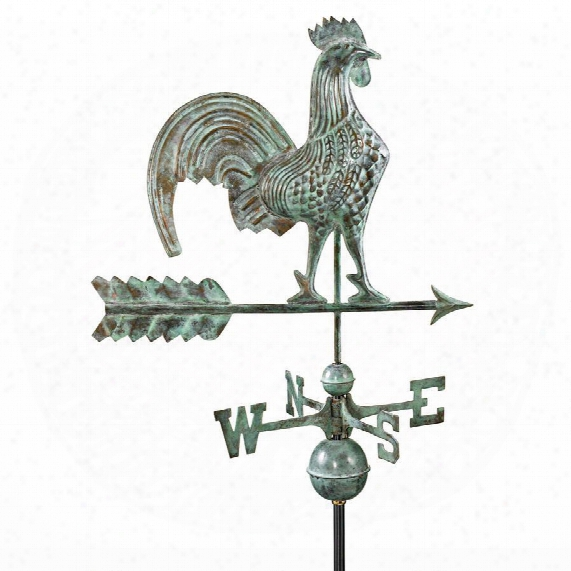 Strutting Rooster Full-size Copper Weathervane: Blue Verde Finish