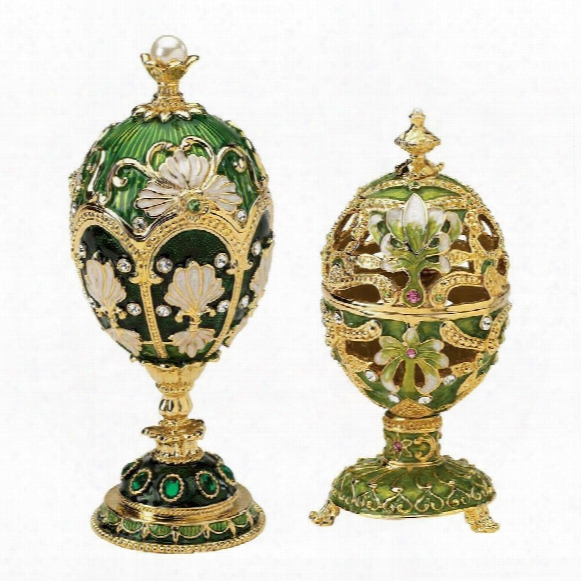 The Petoika Collection Faberge Style Enameled Eggs: Set Of Elena & Larissa Eggs