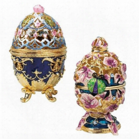 The Royal Garden Faberge-style Collectible Enameled Egg Set