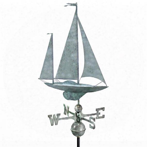 The Salcombe Yawl Full-size Copper Weathervan: Blue Verde Finish