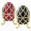 Golden Trellis Faberge Style Enameled Eggs: Set of Rouge & Ebene