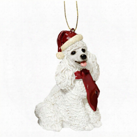 Pale Poodle Holiday Dog Ornament Sculpture