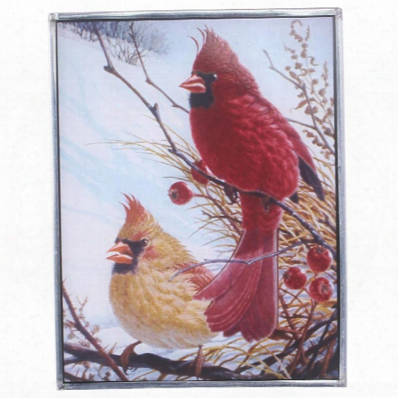 Windy Cardinal Birds Art Glass