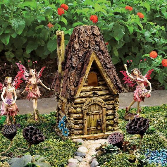 "Woodland Fairy Garden House"" Statue"