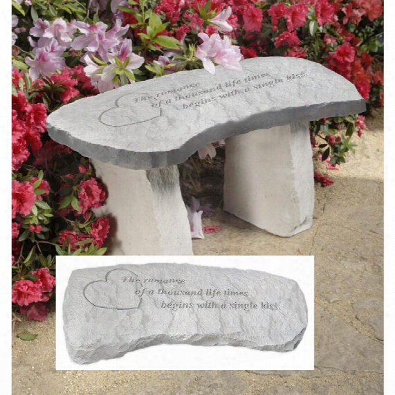 A Single Kiss Cast Stone Memorial Garden Bench