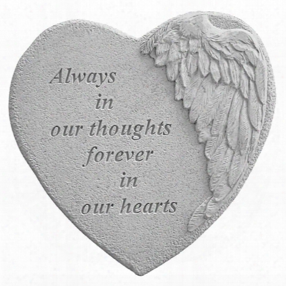 Always In Our Thoughts: Angel Wing Cast Stone Memorial Garden Marker
