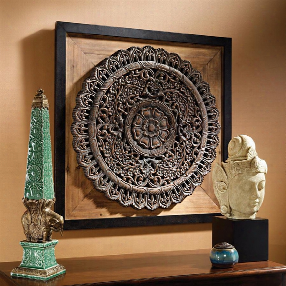 "Bali Lotus"" Sculptural Wall Frieze"