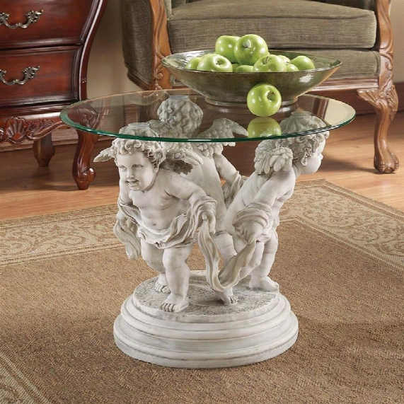 Bernini's Cherubs Glass-top Sculptural Table