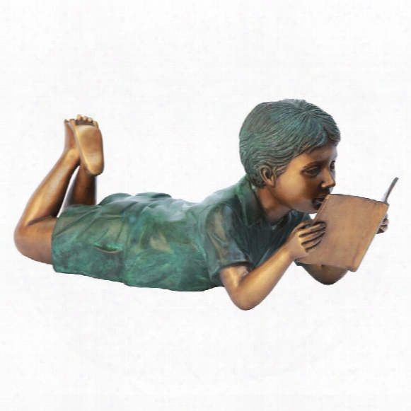 Bookworm Boy, Garden Reader Bronze Statue