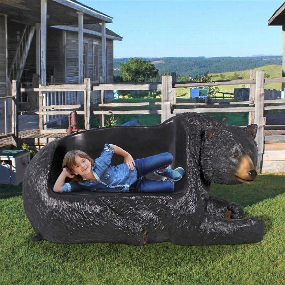 Brawny Black Bear Bench Sculpture