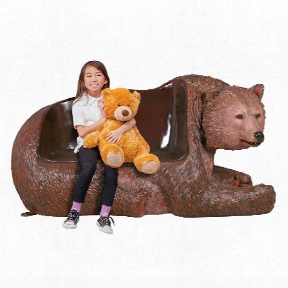 Brawny Grizzly Bear Bench Scul Pture