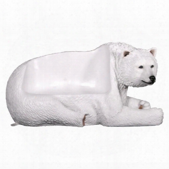 Brawny Polar Bear Bench Sculpture