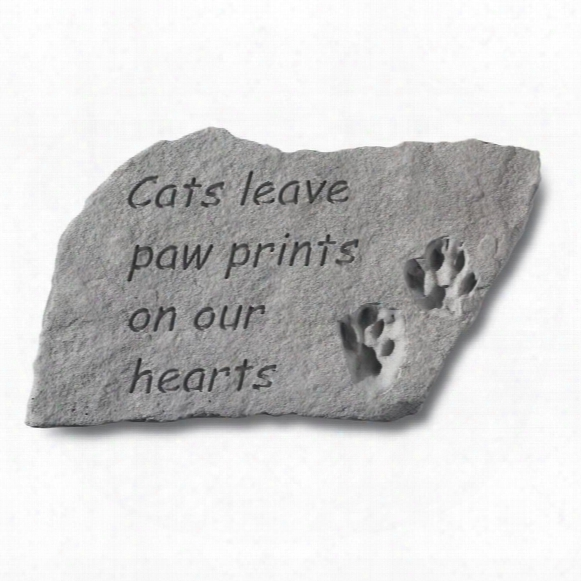 Cat Paw Prints Cast Stone Memorial Statue: Large