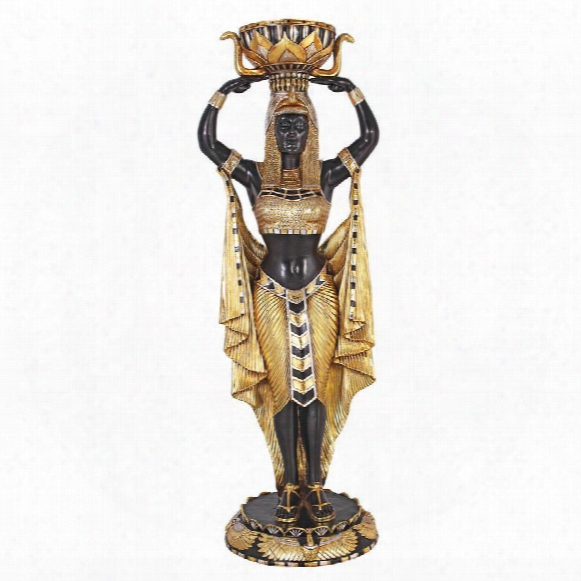 Cleopatra's Egyptian Nubian Maiden With Urn: Grand-scale Statue